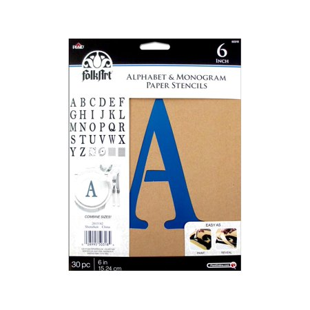 Plaid Folkart Stencil Paper Alphabet Serif 6