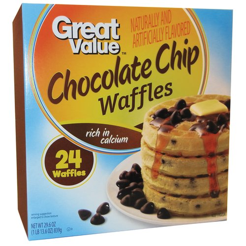 Great Value Chocolate Chip Waffles, 24 ct, 29.6 oz