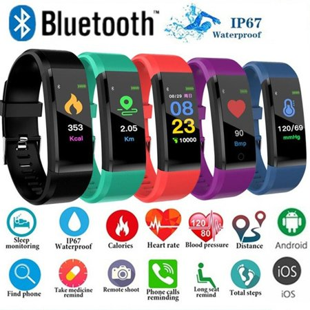 Waterproof Smart Bracelet Watch 115 Plus Blood Pressure Monitoring Heart Rate Monitoring Smart Wristband Fitness