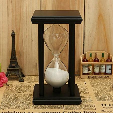 Unity Sand Hourglass (30Mins Wooden Frame Sand Sandglass Hourglass Timer Clock Decor Xmas Home Gift Black-white)