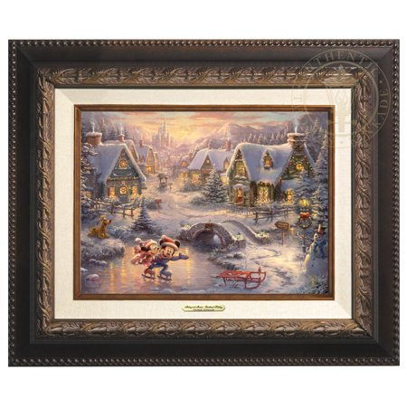 Thomas Kinkade Disney Mickey and Minnie - Sweetheart Holiday - Canvas Classic (Aged Bronze Frame)