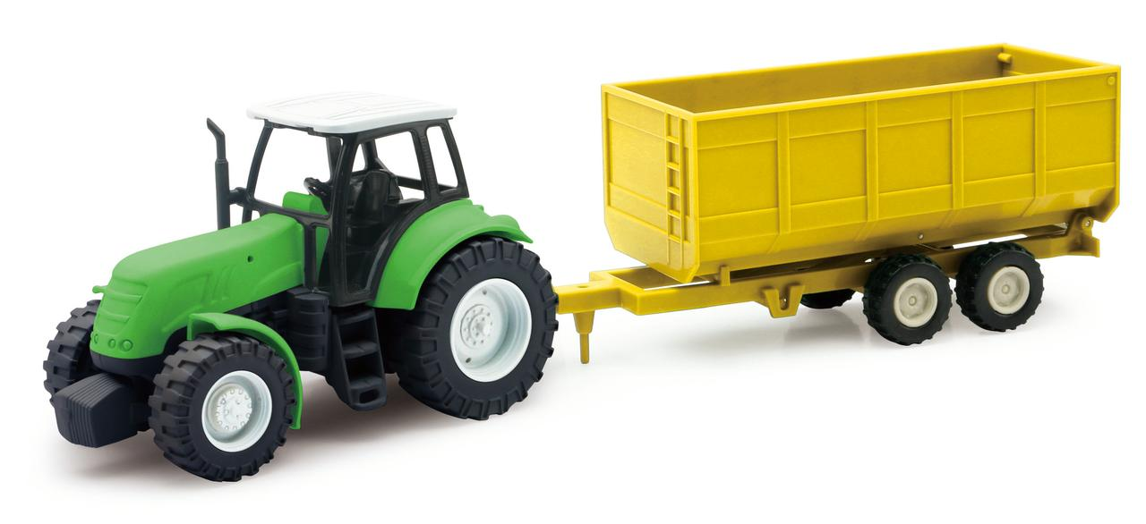 Green Farm Tractor with Attachable Crop Trailer by NewRay