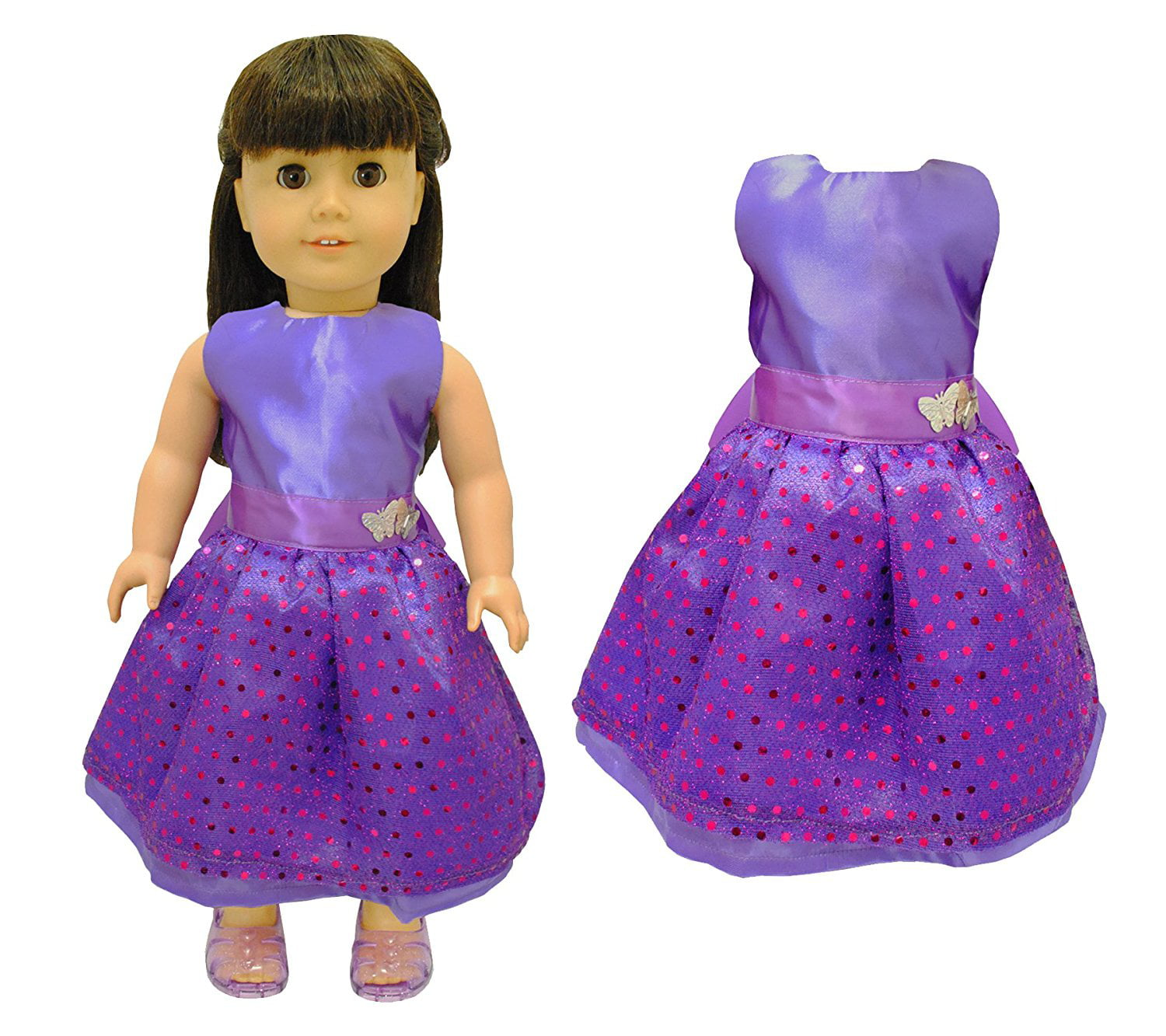 Doll Clothes Beautiful Purple Dress with Dots Outfit Fits American Girl Doll, My Life Doll... by Pink Butterfly Closet