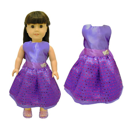 Doll Clothes - Beautiful Purple Dress with Dots Outfit Fits American Girl Doll, My Life Doll and 18 inch dolls