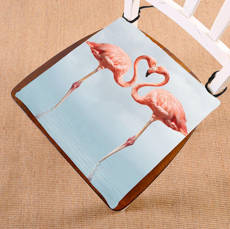 ZKGK Flamingo Seat Pad Seat Cushion Chair Cushion Floor Cushion Two Sides 16x16 Inches