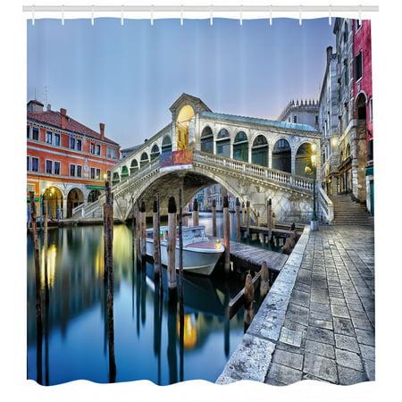 Venice Shower Curtain, Morning Twilight Grand Canal Rialto Bridge Water Reflection Scenic Urban, Fabric Bathroom Set with Hooks, Silver Blue Cinnamon, by Ambesonne Twilight Shower Curtain