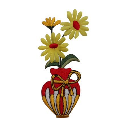 Id 6067 Daisy Flowers In Vase Patch Decorate Gift Embroidered Iron