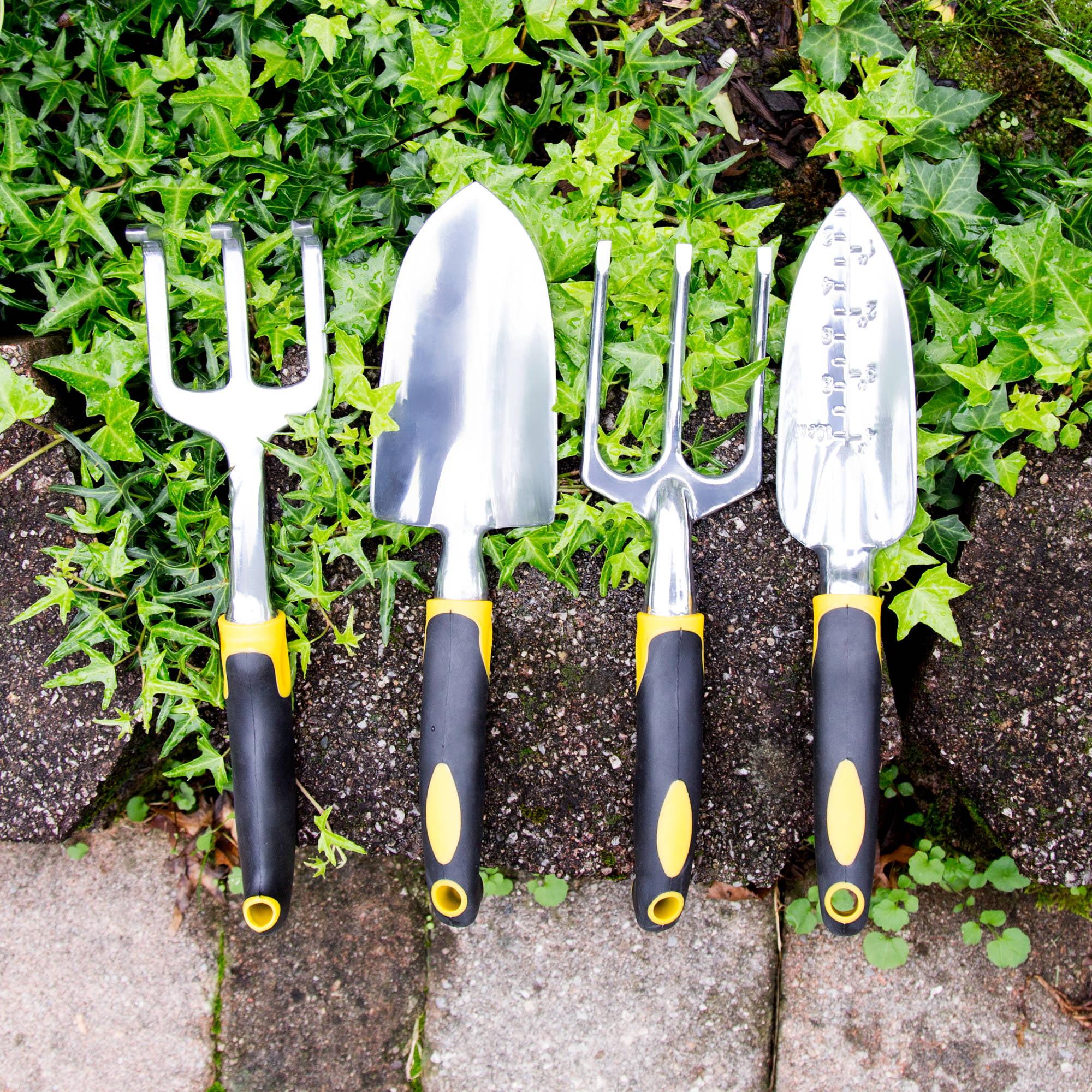 Pure Garden 4-Piece Garden Tool Set with Comfort Grip Handles by Trademark Global LLC