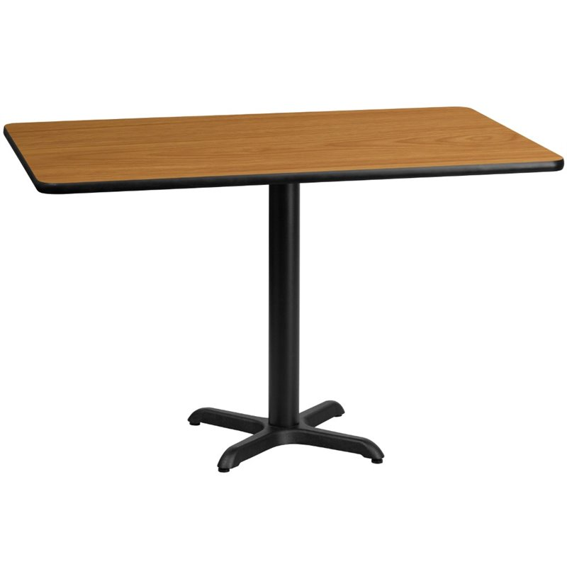 """Bowery Hill 30"""" x 60"""" Restaurant Dining Table in Black and Natural"""