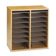 16 Compartment Wood Adjustable Literature Organizer in Medium Oak