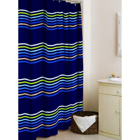 Your Zone Microfiber Shower Curtain Blue Multi Stripe