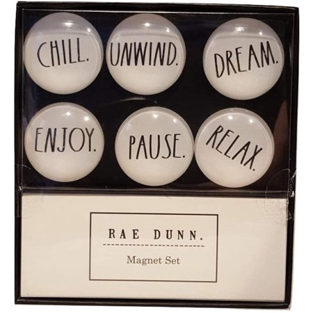 Rae Dunn 6 Piece Glass Dome Magnet Set Chill, Unwind, Dream, Enjoy, Pause, Relax