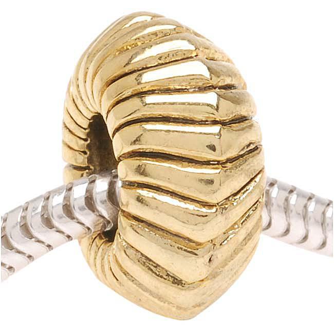 22K Gold Plated Large Angled Rope Bead - European Style Large Hole (1)