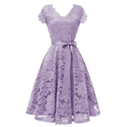 Market In The Box Women Lace Dress Vintage Christmas Party Dress Cap Sleeve Bridesmaid Cocktail Dresses With Belt
