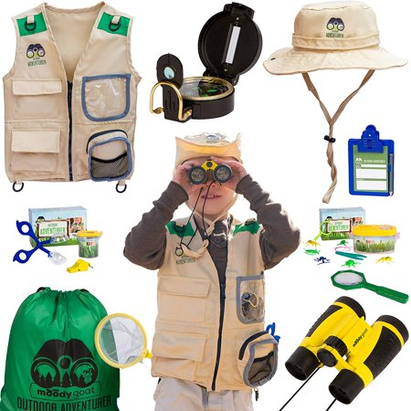 Moody Goat 21 - Pcs Outdoor Explorer Gear Deluxe Play Set for Kids - Junior Adventurer Equipment Kit for Children - Exploration Toys with Binoculars, Bug Catcher, Magnifying Glass &