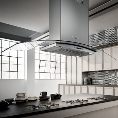 600 Cfm 42 Inch Wide Island Range Hood With Electronic Controls And Stainless Steel Mesh Filters