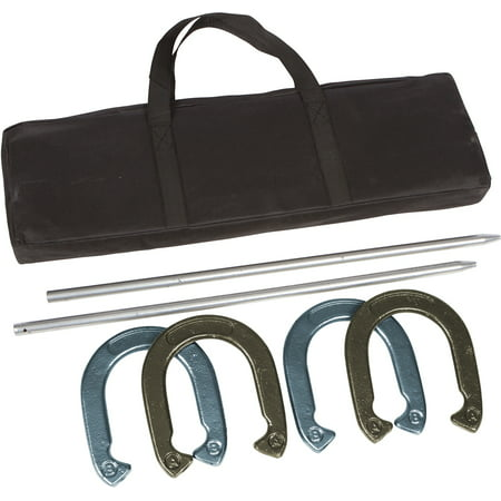 - Pro Horseshoe Set - Powder Coated Steel with Carry Case By Trademark Innovations (Gold and Silver)