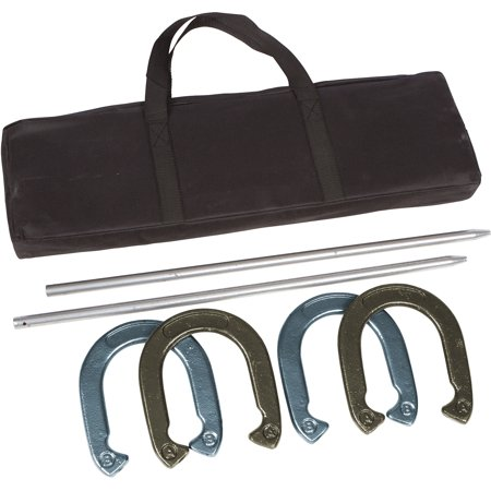 Pro Horseshoe Set - Powder Coated Steel with Carry Case By Trademark Innovations (Gold and Silver) (Printable Horseshoe)