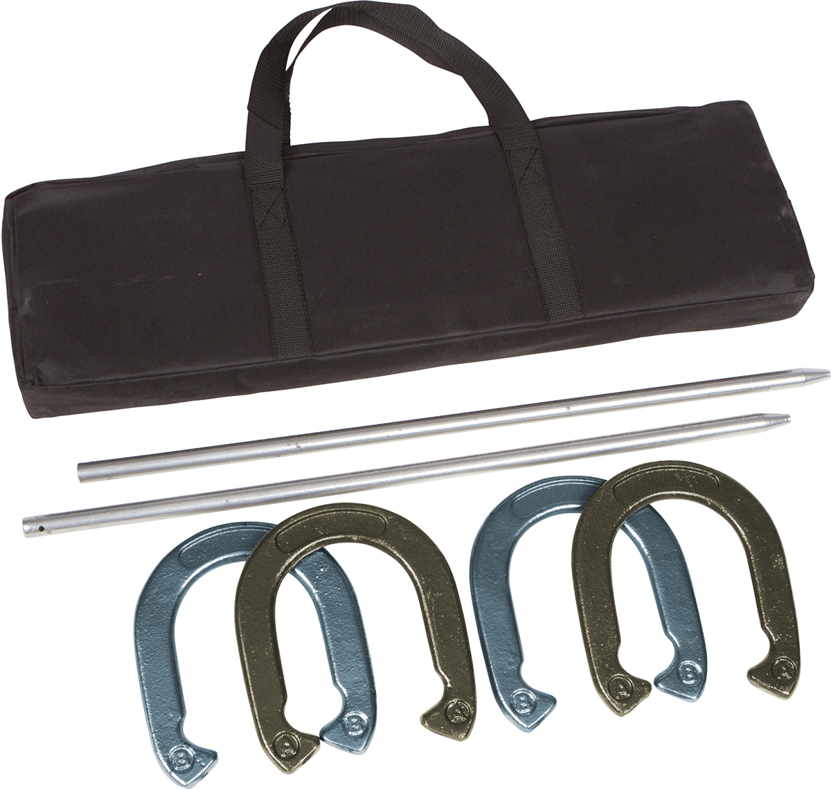 Pro Horseshoe Set - Powder Coated Steel with Carry Case By Trademark Innovations (Gold and Silver)