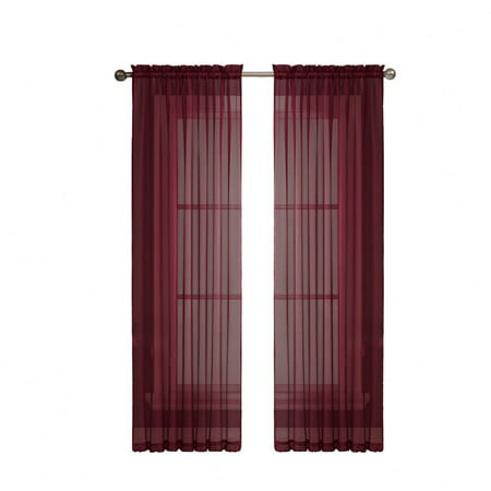 2 Pack: Regal Home Collections Burgundy Crystal Sheer Voile Window Curtains - 54 in. W x 84 in. L