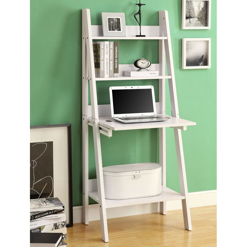 Monarch Computer Desk 61H White Ladder Style Walmartcom
