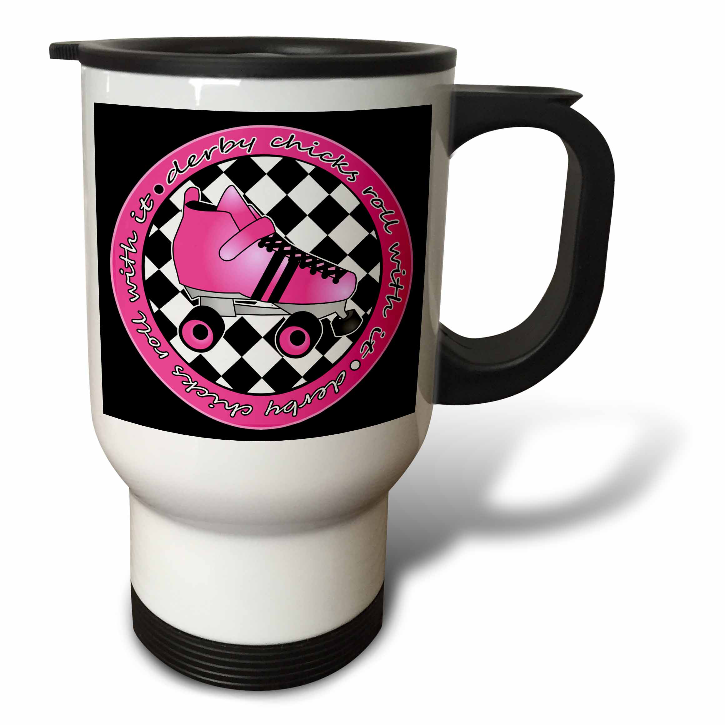 3dRose Derby Chicks Roll With It Hot Pink Roller Skate and Black, Travel Mug, 14oz, Stainless Steel by 3dRose