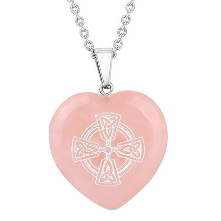 Amulet Viking Celtic Cross Circle Powers Protect Energy Rose Quartz Puffy Heart Pendant 18 Inch Necklace