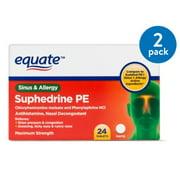 (2 Pack) Equate Sinus & Allergy Maximum Strength Nasal Decongestant Tablets, 24 Ct