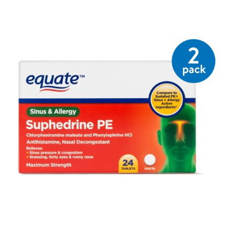 (2 Pack) Equate Sinus & Allergy Maximum Strength Nasal Decongestant Tablets, 24