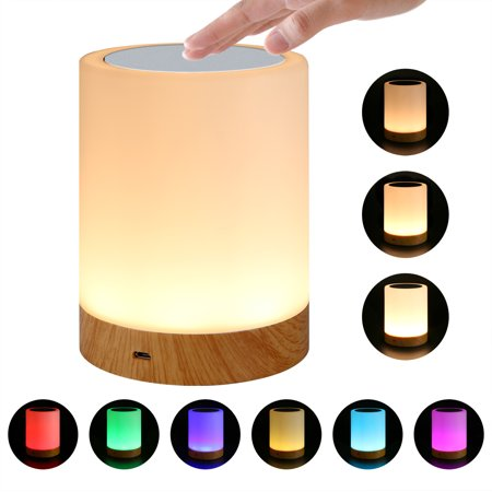 Bedside Table Lamp Light - LED Bedside Table Lamps Touch Lamp Night Light Rechargeable Warm White Light RGB Color Bedrooms Living Room Portable