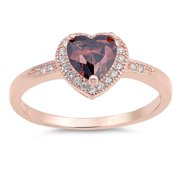 CHOOSE YOUR COLOR Rose Gold-Tone Champagne Simulated CZ Heart Promise Ring Sterling Silver Band