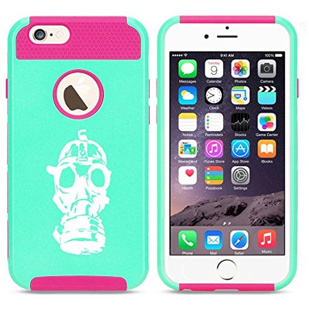 Apple iPhone 6 Plus / 6s Plus Shockproof Impact Hard Case Cover Gas Mask Zombie (Light Blue-Hot Pink),MIP