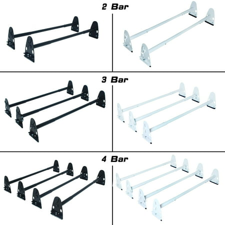 Roof Racks Ladders (AA-Racks Fullsize Universal Van Roof Rain Gutter Rack Two Bar Ladder Steel Round Bar - Matte Black)