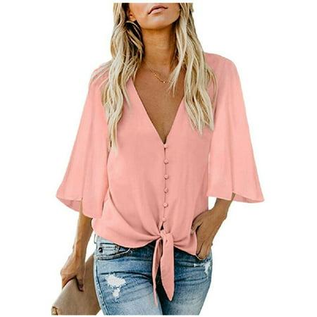 Women Short Ruffle Sleeve Loose Deep V Neck T Shirts Casual Blouse Tops Shirt