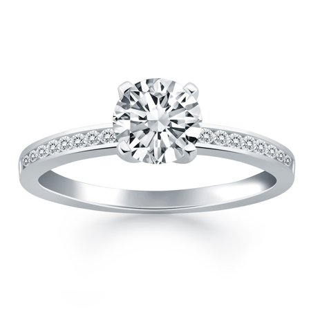 14k White Gold Engagement Ring with Diamond Channel Set Band - image 1 de 2