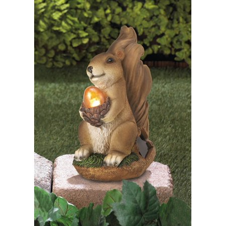 Rustic SQUIRREL path SOLAR light LED lamp outdoor garden yard art lawn statue, By LXQ from USA