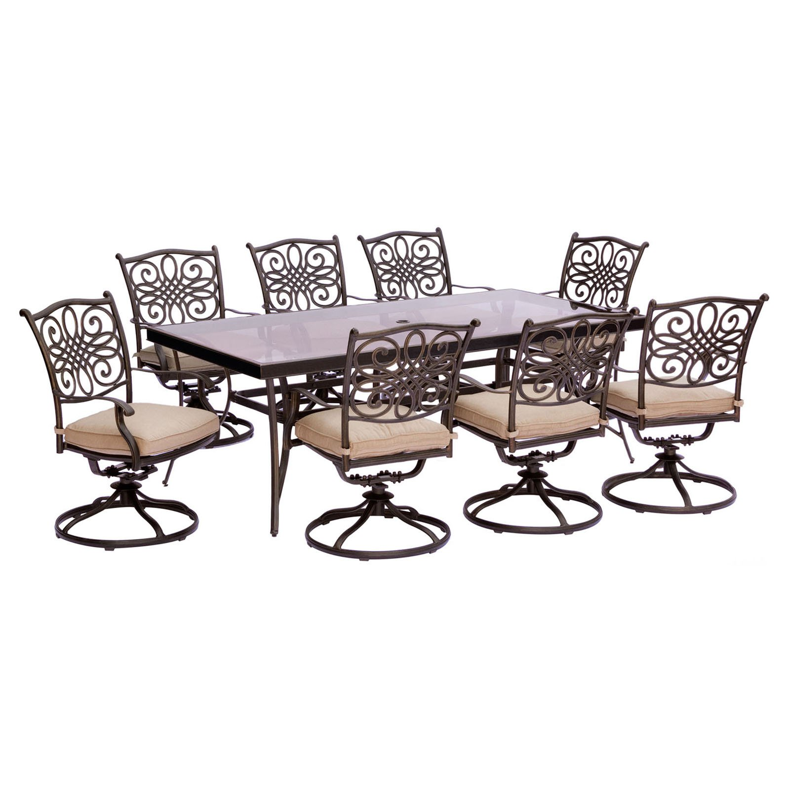 """Hanover Outdoor Traditions 9-Piece Dining Set with 42"""" x 84"""" Glass-Top Table, 8 Swivel Rockers and Umbrella with Stand, Natural Oat"""