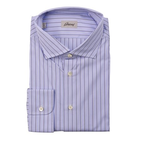 Brioni Dress Shirts (Brioni Mens Light Blue Striped Cotton Button Down Dress Shirt)