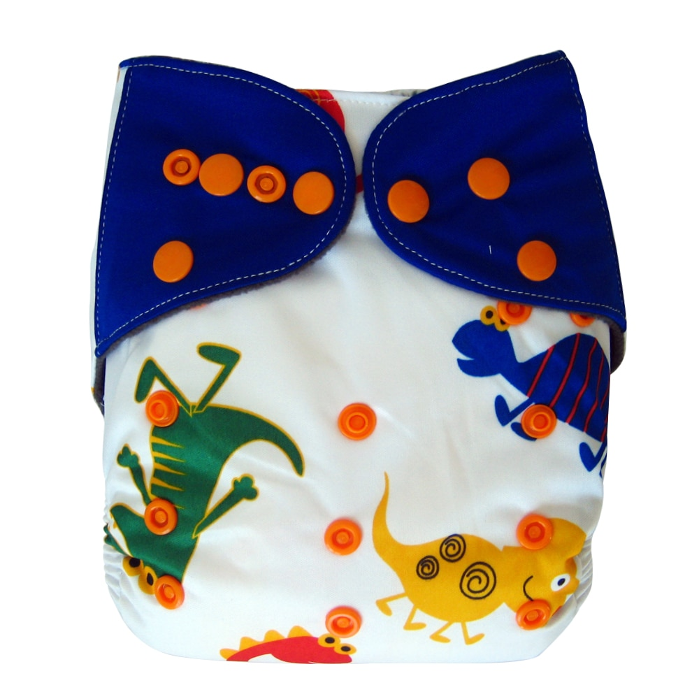 One Size All-in-one Cloth Diaper with Snaps, Dinosaur