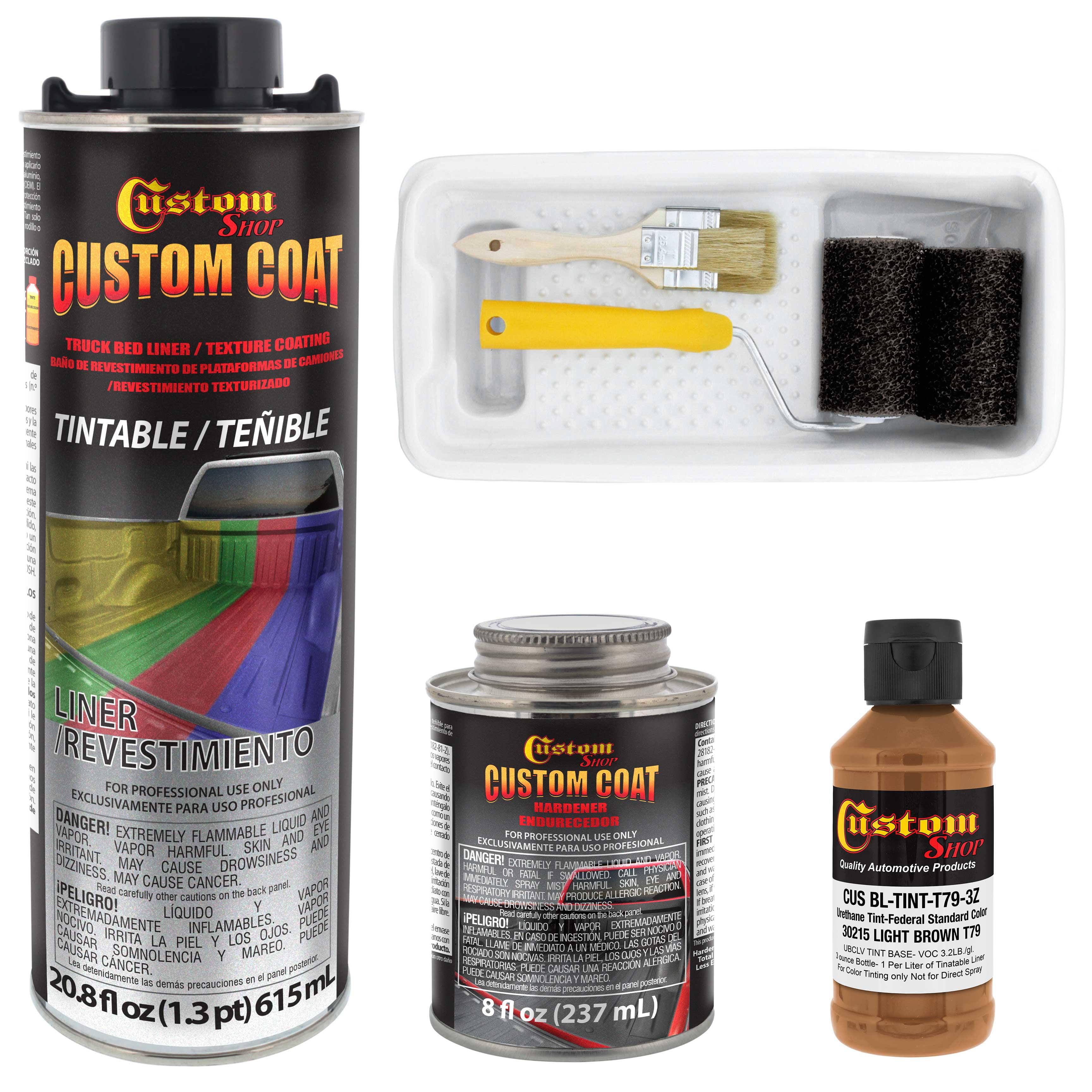Custom Coat 30215 Light Brown T79 Urethane Roll On Brush On Or Spray On Truck Bed Liner 1 Quart Kit With Roller Applicator Kit Walmart Com Walmart Com