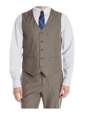 Perry Ellis NEW Chinchilla Brown Mens Size Medium M Seamed Suit Vest