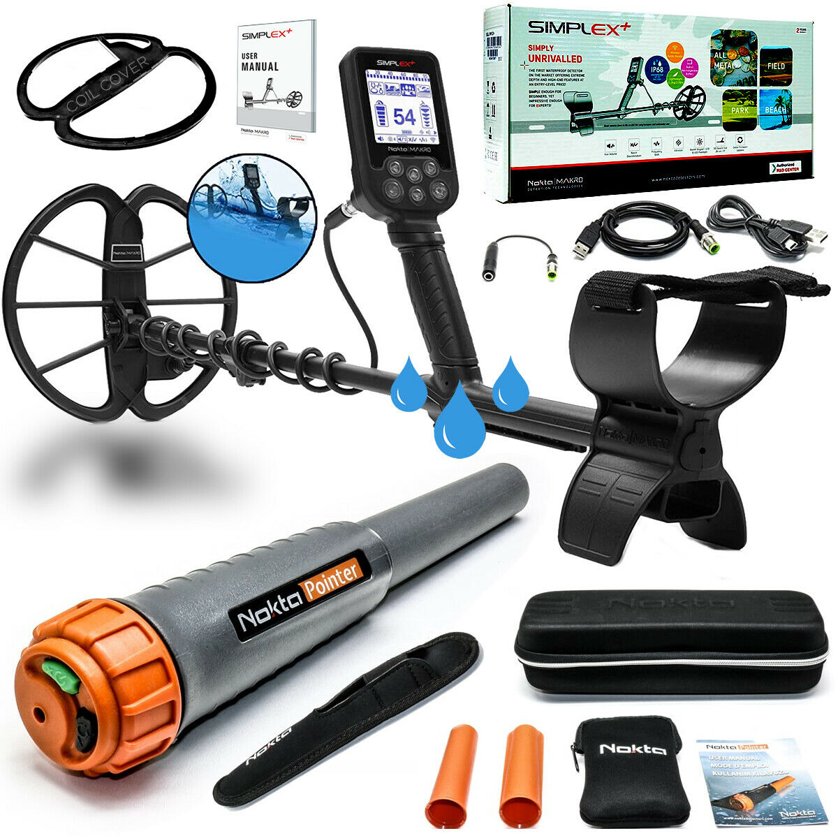 Nokta Simplex+ Waterproof Metal Detector with Waterproof Pinpointer
