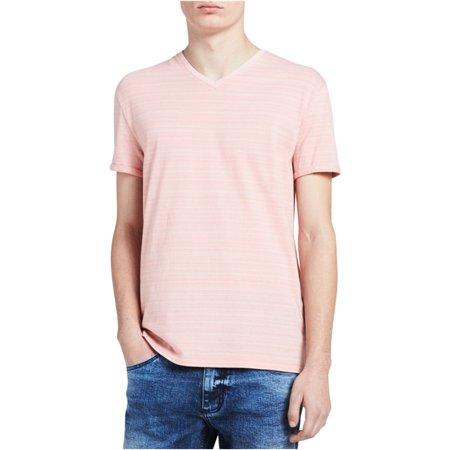 Calvin Klein Mens Stripe Embellished T-Shirt Orange White Striped Shirt