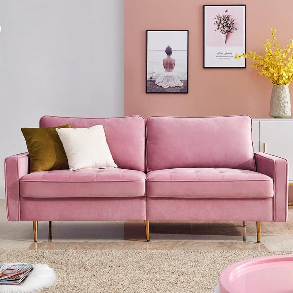 Pink Fabric Sofa Set Mid Century