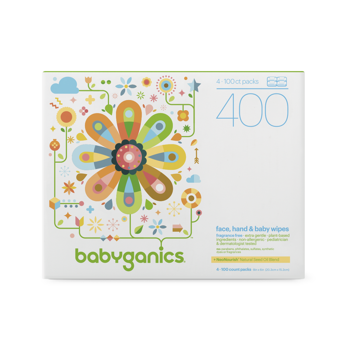 BabyGanics Face, Hand & Baby Wipes Fragrance Free 400 Wipe(s) by BabyGanics