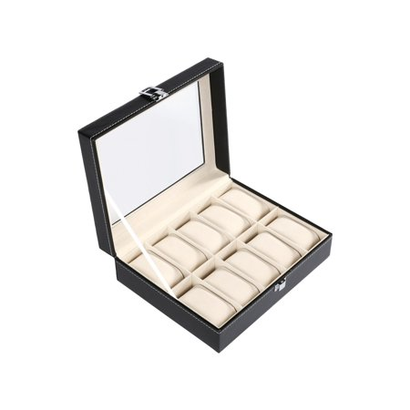 Glass Top 10 Watch Black Leather Box Case Display Organizer Storage Tray for Men & Women ()