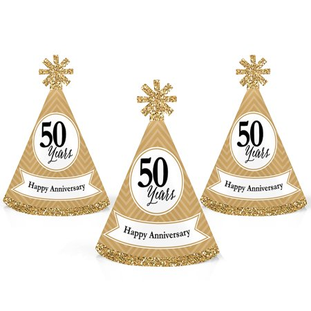 We Still Do - 50th Wedding Anniversary - Mini Cone Anniversary Party Hats - Small Little Party Hats - Set of 10 (50th Birthday Hats)