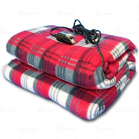Zone Tech Car Heated Travel Blanket Plaid 12v Automotive Comfortable Heating Seat Great For Summer