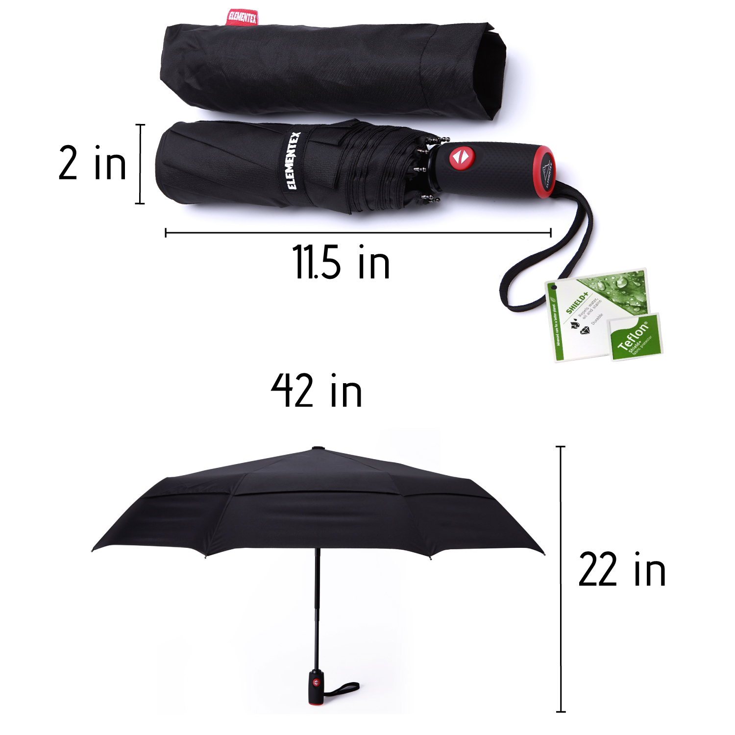 Galaxy Wolf Automatic Windproof Travel Umbrella Compact Canopy With Black Glue And UV-resistant Coating