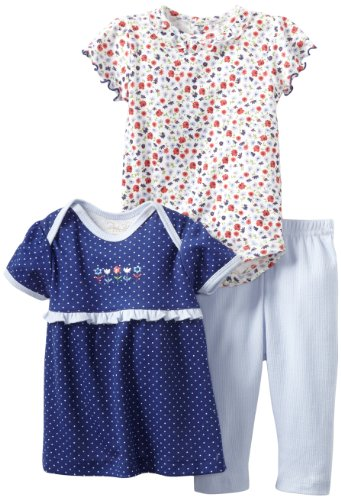 Rene Rofe Baby Newborn Girls Flowers 3 Piece Pant Set, Navy/Assorted Floral/Blue, 0-3 Months